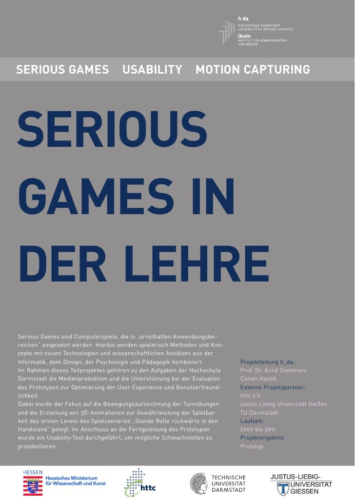 SERIOUS GAMES                       USABILITY                MOTION CAPTURINGSERIOUSGAMES INDER LEHRESerious Games sind Co...