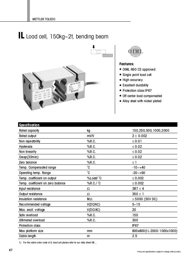 loadcell il 250kg mettler toledo do cty tnhh quốc h�ng cung cấp 093\u2026 Wiring Low Voltage Under Cabinet Lighting