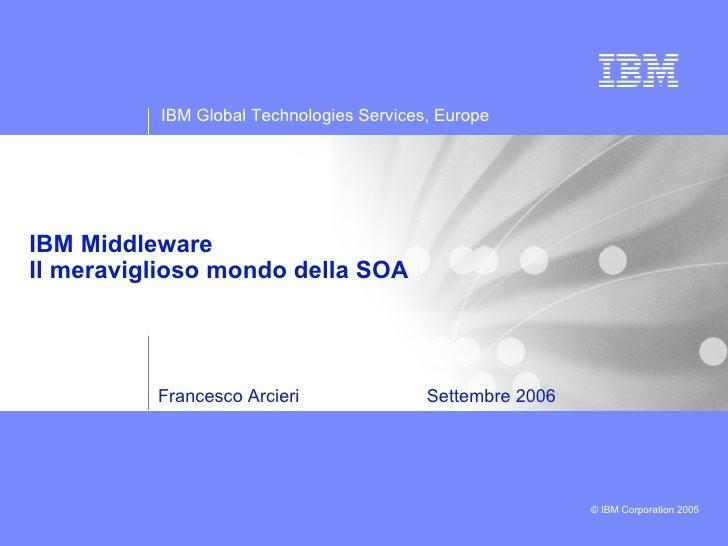 Francesco Arcieri  Settembre 2006 IBM Middleware Il meraviglioso mondo della SOA