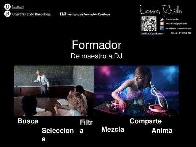 Formador De maestro a DJ Busca Seleccion a Filtr a Mezcla Comparte Anima