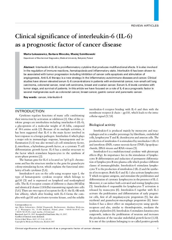 REVIEW ARTICLESClinical significance of interleukin-6 (IL-6)as a prognostic factor of cancer disease         Marta Łukasze...