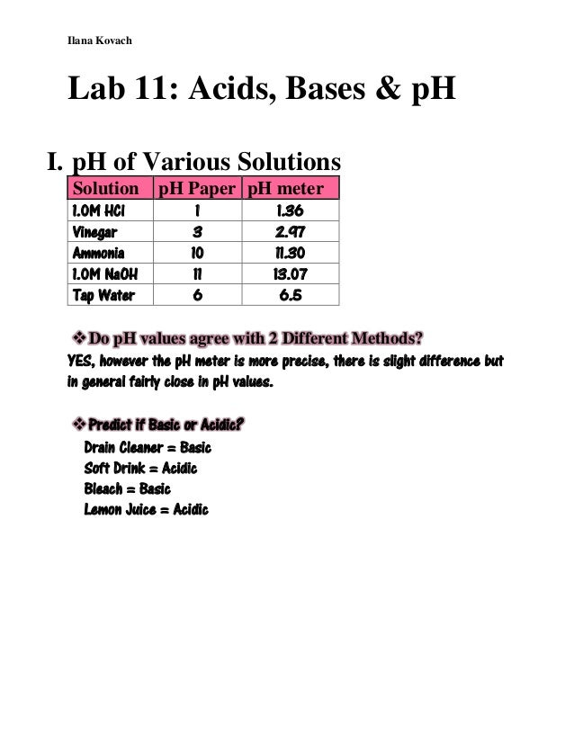 a summary of a chemistry experiment about acids Introduction to acid-base chemistry a chem1 reference text stephen k lower simon fraser university contents 1 acids 2 11 acids and the hydrogen ion.