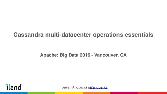 Cassandra multi-datacenter operations essentials Apache: Big Data 2016 - Vancouver, CA Julien Anguenot (@anguenot)