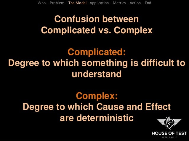 Confusion between Complicated vs. Complex Complicated: Degree to which something is difficult to understand Complex: Degre...