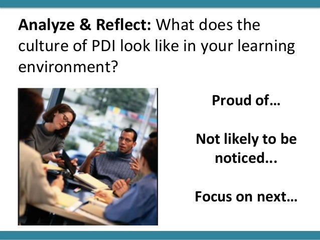 Analyze & Reflect: What does the culture of PDI look like in your learning environment? Proud of… Not likely to be noticed...