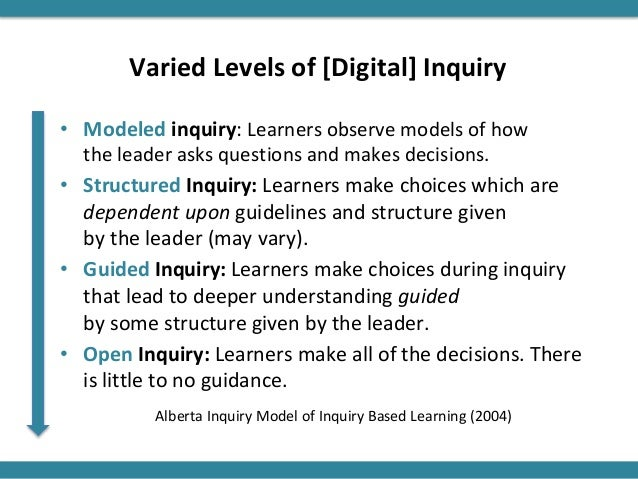 Varied Levels of [Digital] Inquiry • Modeled inquiry: Learners observe models of how the leader asks questions and makes d...