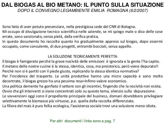 IUP HEIDELBERG DAL BIOGAS AL BIO METANO: IL PUNTO SULLA SITUAZIONE DOPO IL CONVEGNO LEGAMBIENTE EMILIA ROMAGNA (6/2/2007) ...