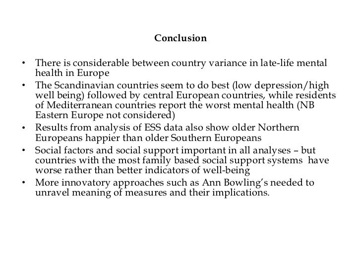 measuring quality of life joint debate slides depression country level comparison 58