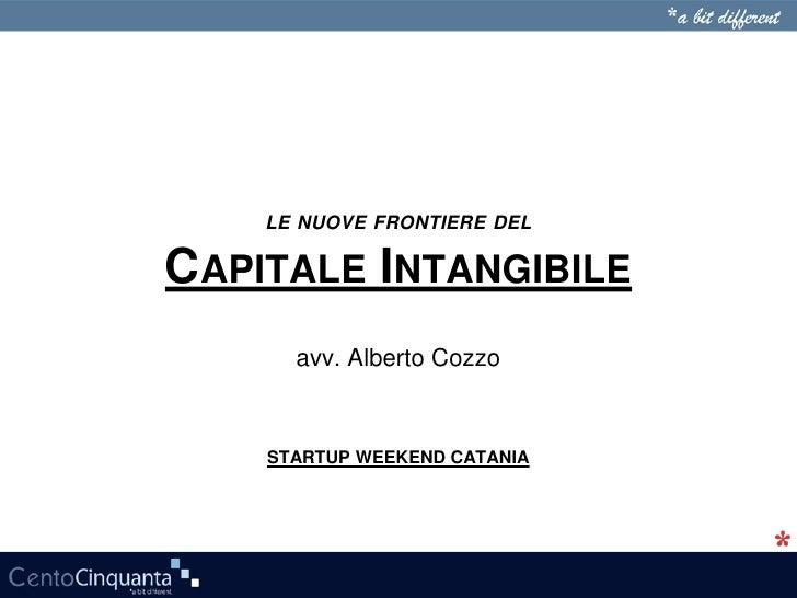 LE NUOVE FRONTIERE DELCAPITALE INTANGIBILE      avv. Alberto Cozzo    STARTUP WEEKEND CATANIA