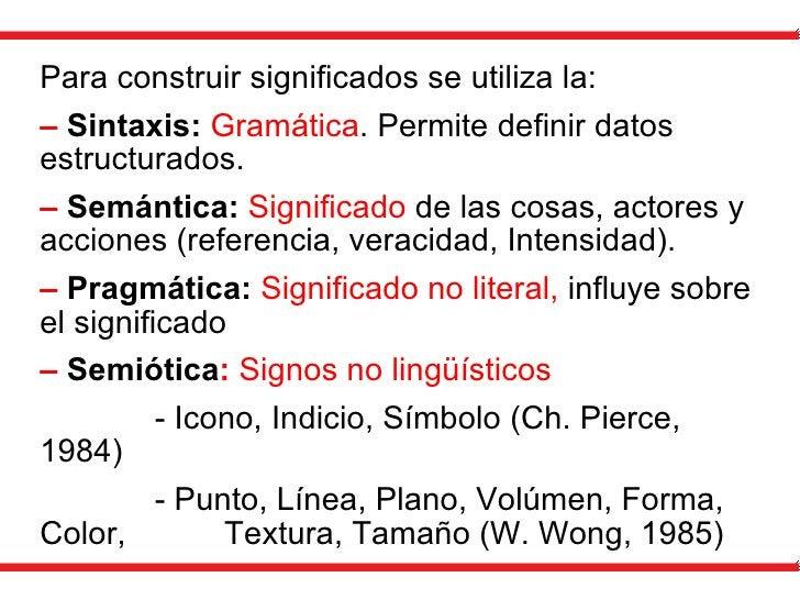 Para construir significados se utiliza la: –  Sintaxis:  Gramática . P ermite definir datos estructurados. –  Semántica:  ...