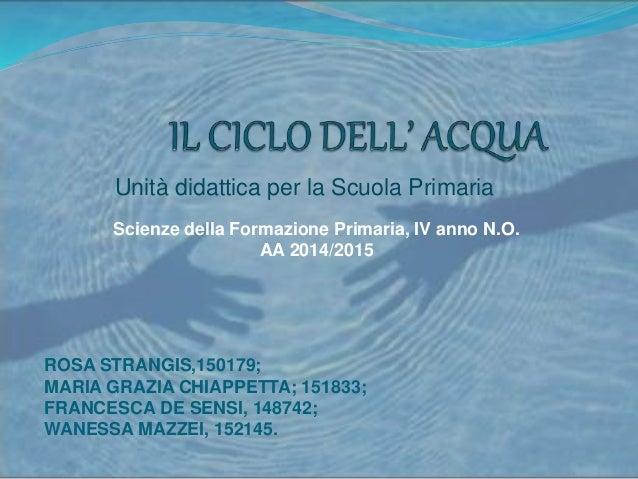Unità didattica per la Scuola Primaria ROSA STRANGIS,150179; MARIA GRAZIA CHIAPPETTA; 151833; FRANCESCA DE SENSI, 148742; ...