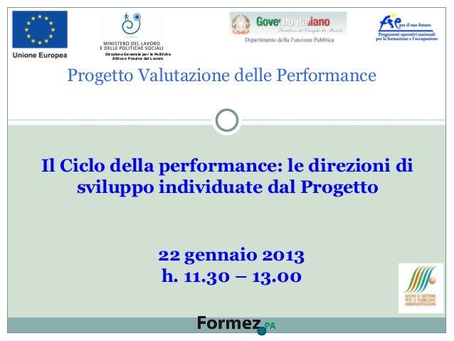 Progetto Valutazione delle Performance Il Ciclo della performance: le direzioni di sviluppo individuate dal Progetto 22 ge...