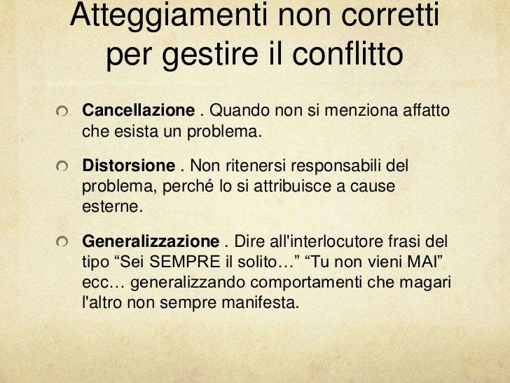 Atteggiamenti non corretti   per gestire il conflittoCancellazione . Quando non si menziona affattoche esista un problema....