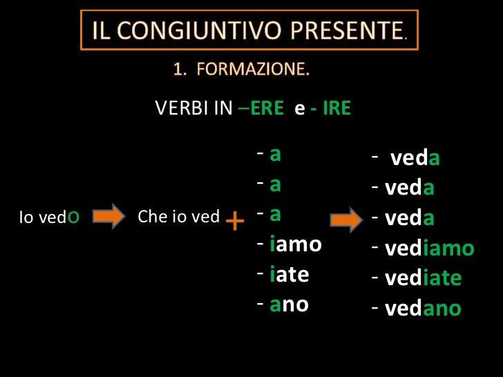 VERBI IN  – ERE  e   - IRE Io ved o Che io ved + <ul><li>a </li></ul><ul><li>a </li></ul><ul><li>a </li></ul><ul><li>i amo...