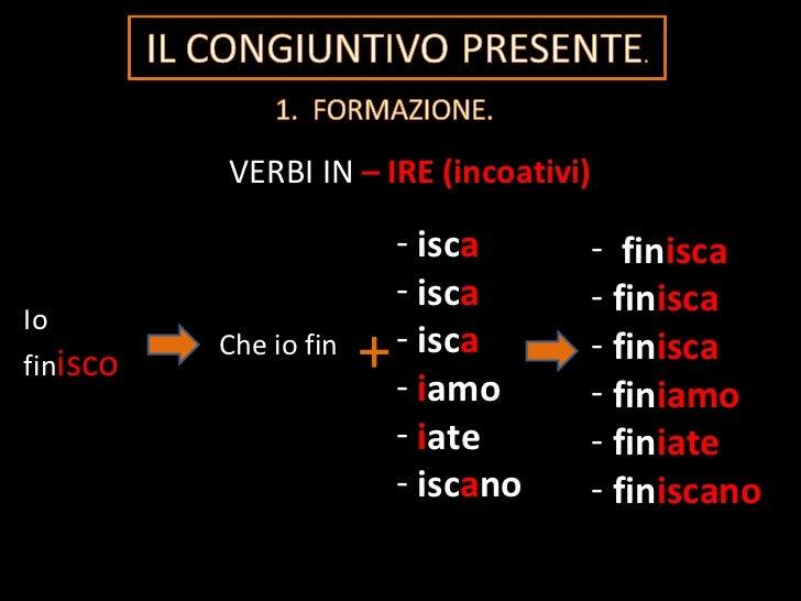 VERBI IN   – IRE (incoativi) Io fin isco Che io fin + <ul><li>isc a </li></ul><ul><li>isc a </li></ul><ul><li>isc a </li><...