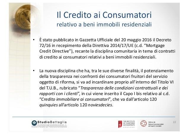 a7ef747bca 22. Ordine dei Dottori Commercialisti ed Esperti Contabili 22 Il Credito ai  Consumatori relativo a beni immobili ...