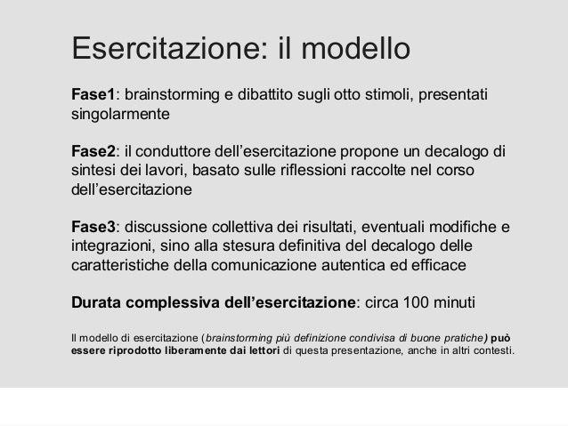 Proforma / Un blog aziendale: perché? Esercitazione: il modello Fase1: brainstorming e dibattito sugli otto stimoli, prese...