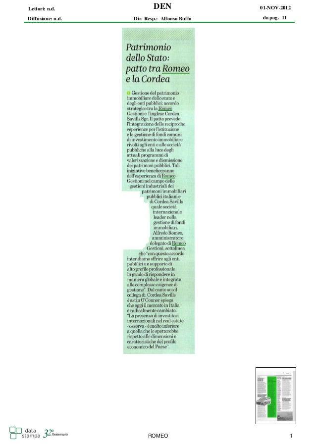 Lettori: n.d.              DEN                 01-NOV-2012Diffusione: n.d.   Dir. Resp.: Alfonso Ruffo   da pag. 11       ...