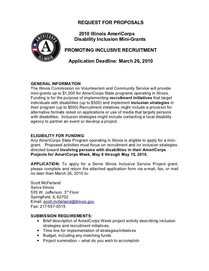 REQUEST FOR PROPOSALS                           2010 Illinois AmeriCorps                         Disability Inclusion Mini...