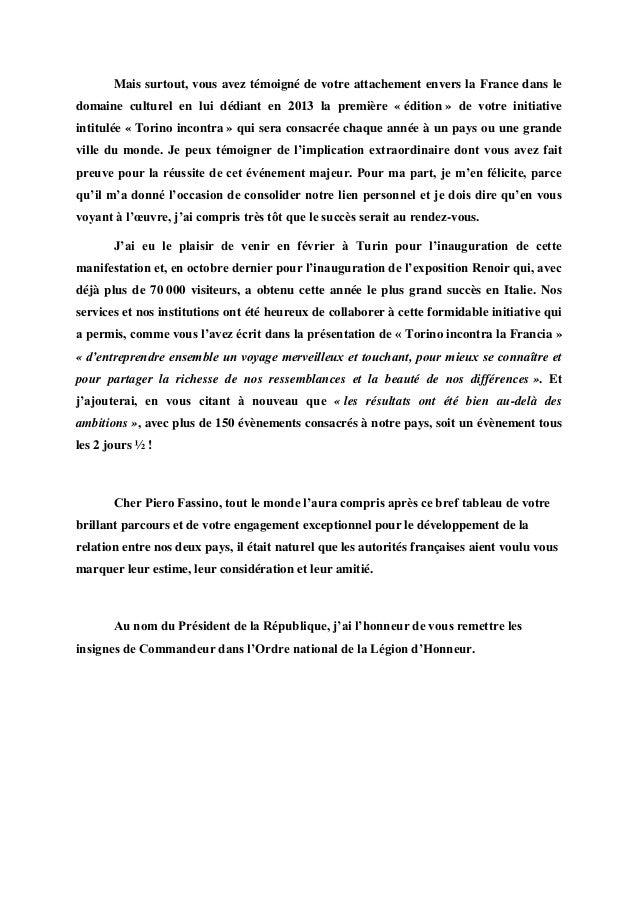 Il discorso per la legion d 39 onore a piero fassino - Chambre de commerce franco italienne ...