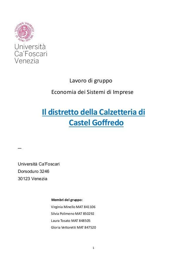 1       Lavorodigruppo EconomiadeiSistemidiImprese  IldistrettodellaCalzetteriadi CastelGof...