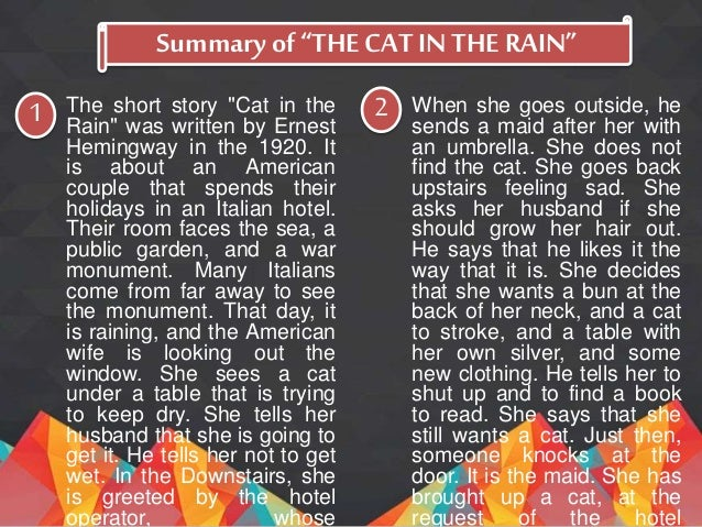 an analysis of the cat in the rain by ernest hemingway
