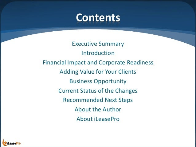 Contents Executive Summary Introduction Financial Impact and Corporate Readiness Adding Value for Your Clients Business Op...