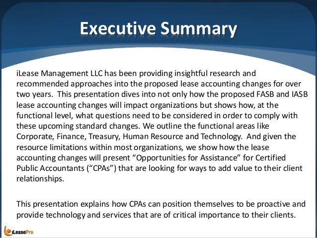 Executive Summary iLease Management LLC has been providing insightful research and recommended approaches into the propose...