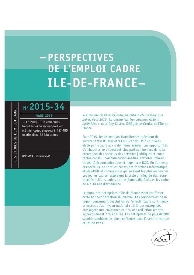 –PERSPECTIVES DE L'EMPLOI CADRE ILE-DE-FRANCE– «Le marché de l'emploi cadre en 2014 a été meilleur que prévu. Pour 2015, l...