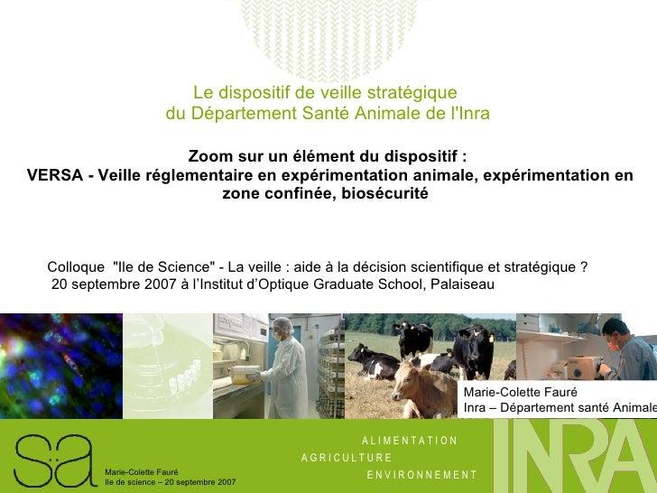 Le dispositif de veille stratégique  du Département Santé Animale de l'Inra Zoom sur un élément du dispositif :  VERSA- V...