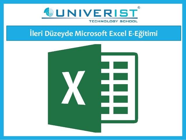 İleri Düzeyde Microsoft Excel E-Eğitimi