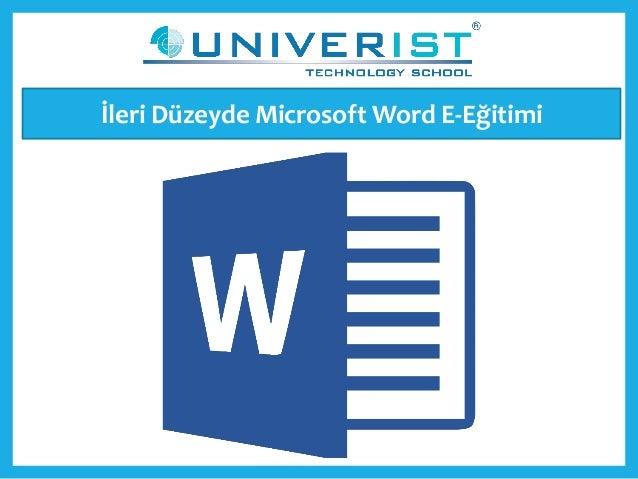 İleri Düzeyde Microsoft Word E-Eğitimi