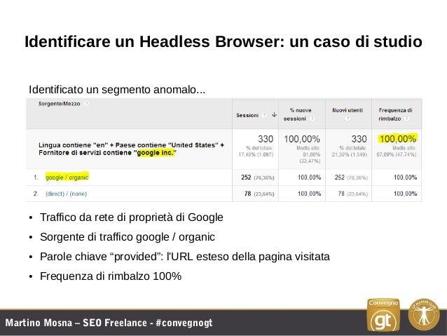 Martino Mosna – SEO Freelance - #convegnogt Identificare un Headless Browser: un caso di studio Identificato un segmento a...
