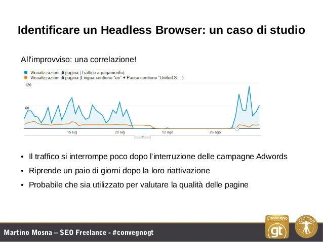 Martino Mosna – SEO Freelance - #convegnogt Identificare un Headless Browser: un caso di studio All'improvviso: una correl...