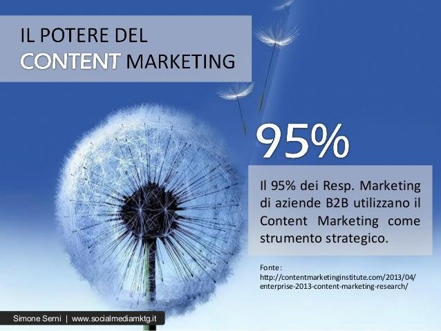 Fonte: http://contentmarketinginstitute.com/2013/04/ enterprise-2013-content-marketing-research/ Il 95% dei Resp. Marketin...