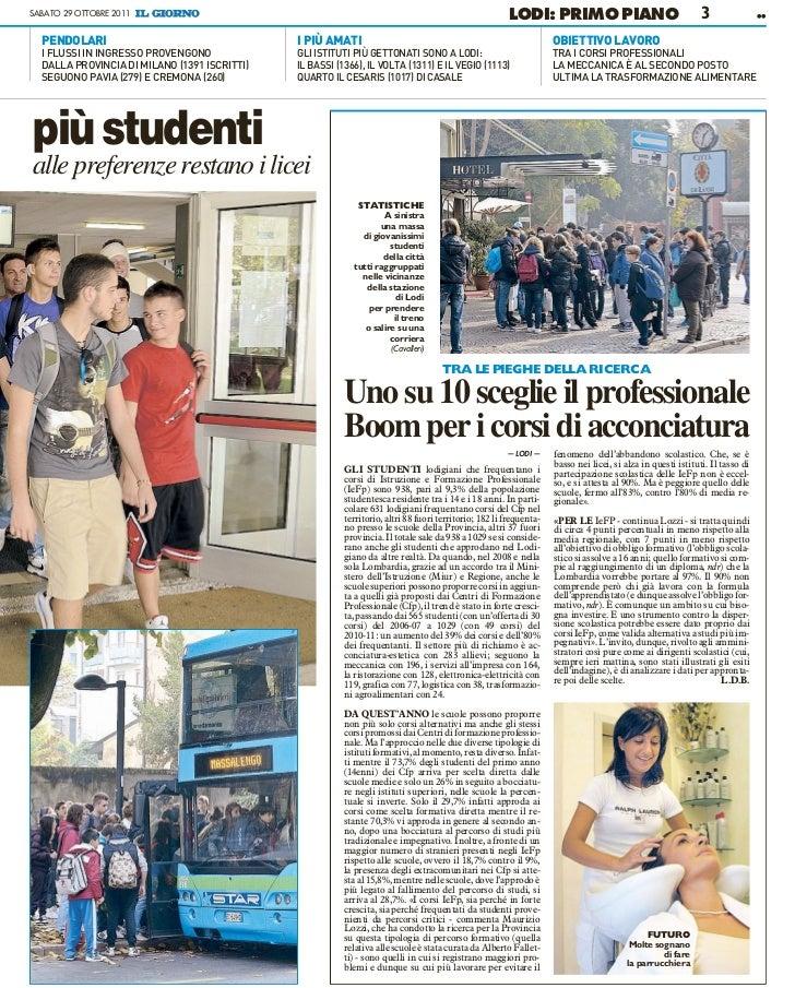 Obiettivo Lavoro Pavia: Il Giorno, 29 Ottobre 2011