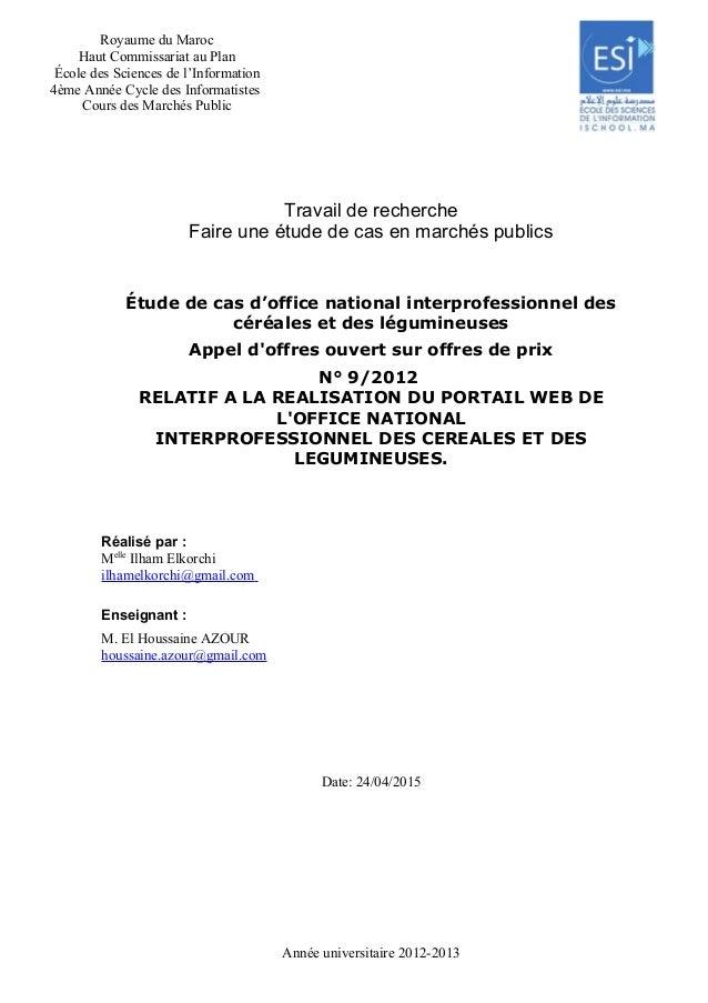 Royaume du Maroc Haut Commissariat au Plan École des Sciences de l'Information 4ème Année Cycle des Informatistes Cours de...