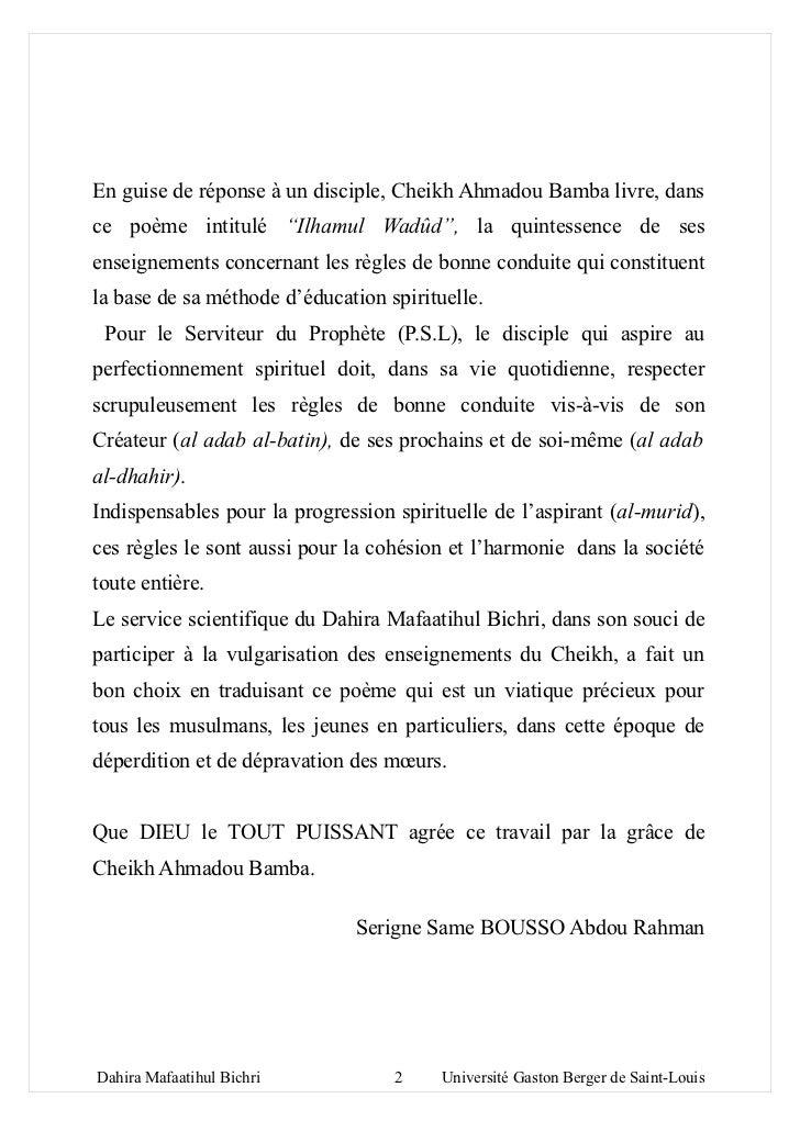 """En guise de réponse à un disciple, Cheikh Ahmadou Bamba livre, dansce poème intitulé """"Ilhamul Wadûd"""", la quintessence de s..."""