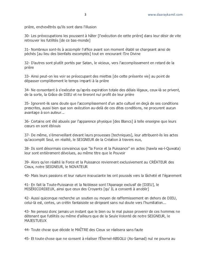 3                                    www.daaraykamil.comprière, enchevêtrés quils sont dans lillusion30- Les préoccupation...