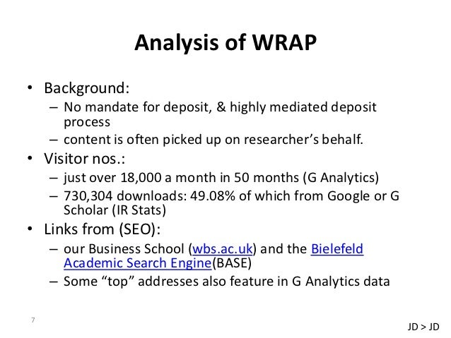 Analysis of WRAP• Background:    – No mandate for deposit, & highly mediated deposit      process    – content is often pi...