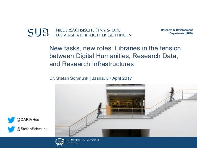 New tasks, new roles: Libraries in the tension between Digital Humanities, Research Data, and Research Infrastructures Dr....