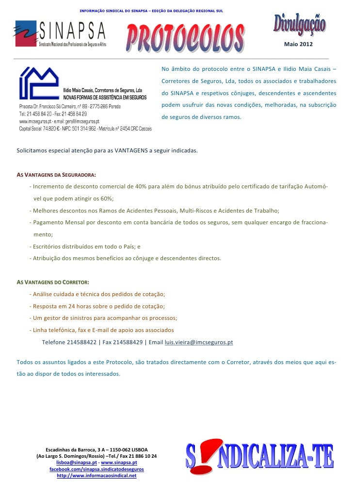 INFORMAÇÃO SINDICAL DO SINAPSA – EDIÇÃO DA DELEGAÇÃO REGIONAL SUL          SINAPSA          Sindicato Nacional dos Profiss...
