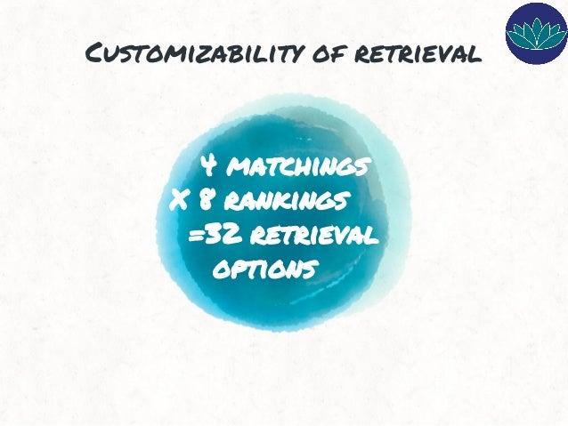 4 matchings X 8 rankings =32 retrieval options Customizability of retrieval