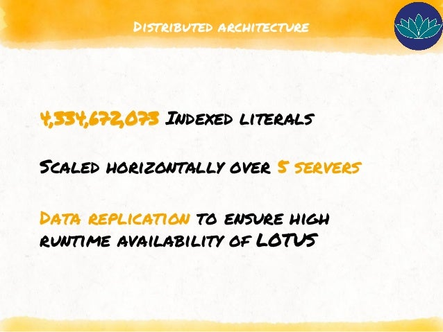 Distributed architecture 4,334,672,073 Indexed literals Scaled horizontally over 5 servers Data replication to ensure high...