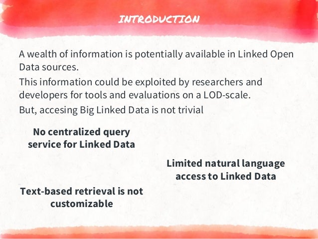 INTRODUCTION Limited natural language access to Linked Data No centralized query service for Linked Data Text-based retrie...