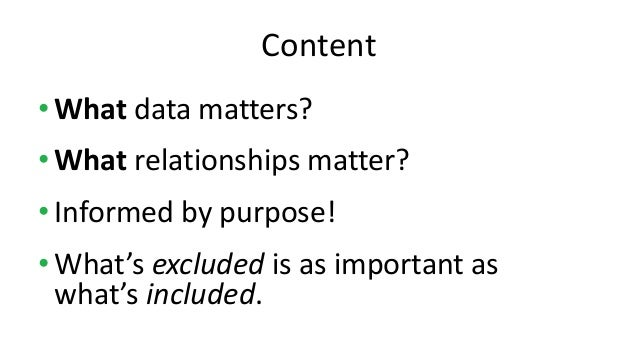 •What data matters? •What relationships matter? •Informed by purpose! •What's excluded is as important as what's included....