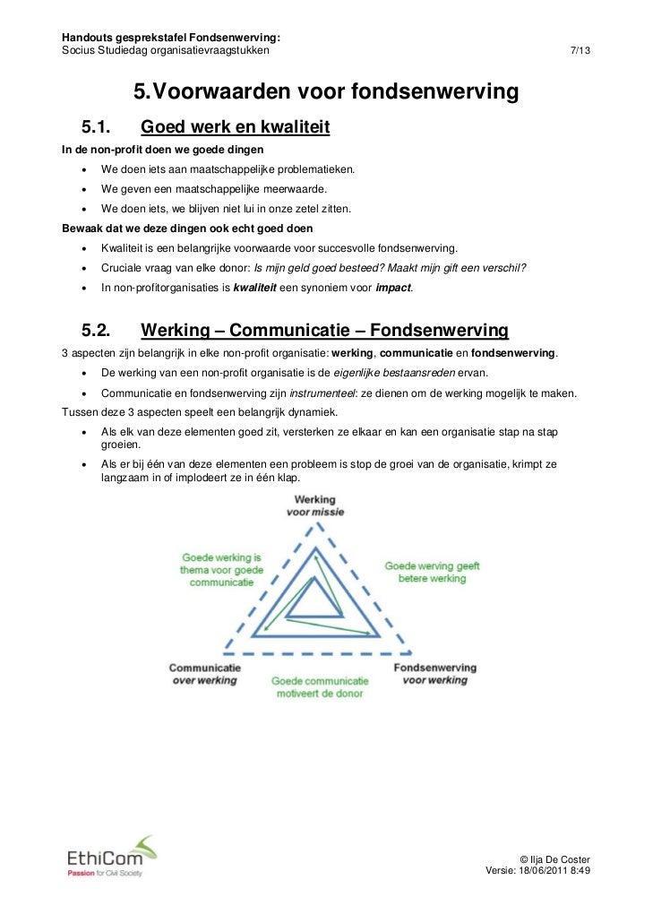 Handouts gesprekstafel Fondsenwerving:Socius Studiedag organisatievraagstukken                                            ...