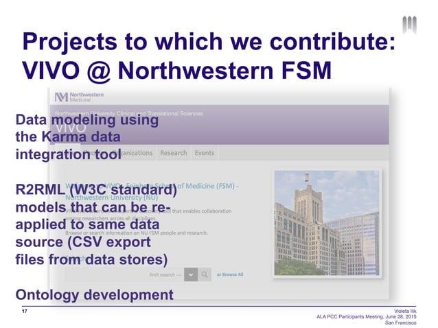 Projects to which we contribute: VIVO @ Northwestern FSM 17 Violeta Ilik ALA PCC Participants Meeting, June 28, 2015 San F...