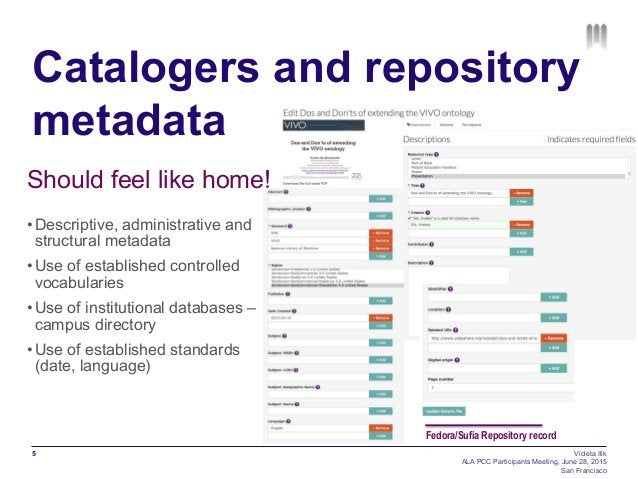 Catalogers and repository metadata Should feel like home! •Descriptive, administrative and structural metadata •Use of e...