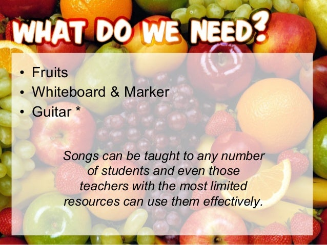• FruitsFruits – Apple – Banana – Orange – Pear – Peach – Pineapple – Kiwi – Etc. • VerbVerb – Eat • Long VowelsLong Vowel...